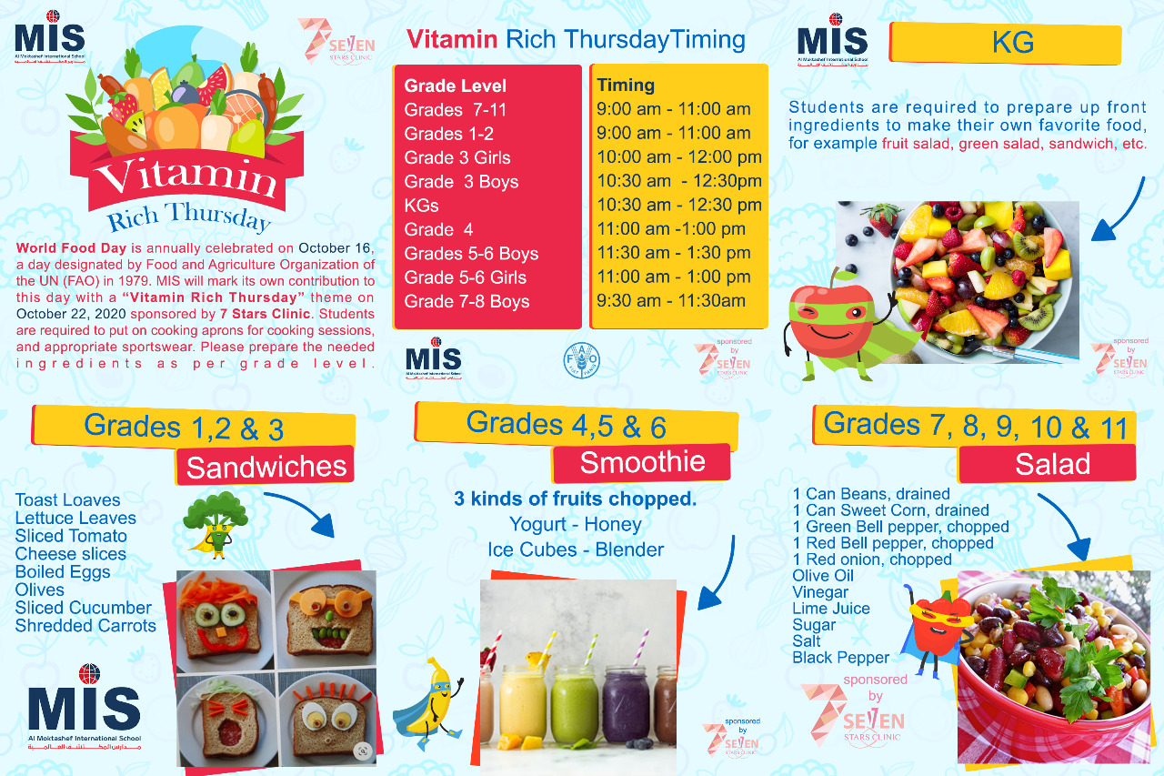 Looking forward to celebrate MIS Vitamin Rich Thursday with our dear students in reference to the mentioned timing. Please join from the Activity tab on student's dashboard. and for KGs section join from Virtual Classes tab.